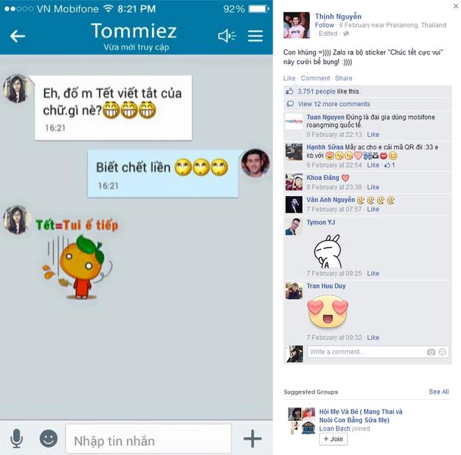 Bo Zalo sticker chuc Tet pha ky luc 1 trieu luot download hinh anh 5 Lâm Á Hân và Thịnh Nguyễn của nhóm BB&BG là những hot teen dẫn đầu trào lưu chúc Tết bằng sticker trên Zalo.