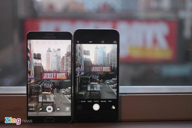 Máy ảnh của Galaxy Note 5 là 16 megapixel, còn iPhone 6 Plus là 8 megapixel. Các so sánh trực tiếp cho thấy, di động Samsung cho khả năng tương phản, cân chỉnh màu sắc các vùng tối tốt. Trong khi đó, điện thoại Apple giữ nguyên màu sắc thực tế.