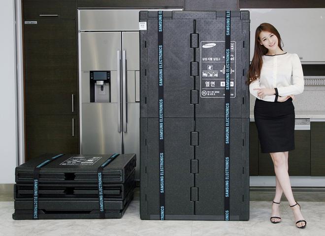 Tai su dung bao bi, giai phap doanh nghiep bao ve moi truong hinh anh 3 Tủ lạnh Samsung sử dụng bao bì EPP, cho phép tái sử dụng khoảng 40 lần.