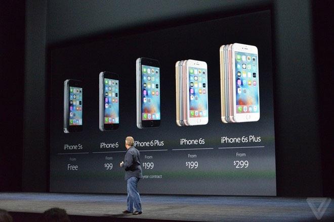 iPhone 6S va 6S Plus ra mat, them mau vang hong hinh anh 1 Giá bán kèm hợp đồng tại Mỹ của các phiên bản iPhone.