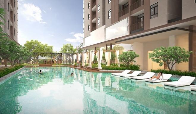 Khong gian song xanh va yen tinh giua long thanh pho hinh anh 2 Hồ bơi được thiết kế theo kiểu resort nghỉ dưỡng.
