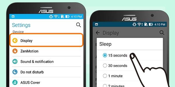 8 bi quyet tang thoi luong pin ZenFone 2 hinh anh 2 Rút ngắn thời gian khóa màn hình: Để màn hình chuyển sang chế độ chờ nhanh cũng là một cách tiết kiệm pin hiệu quả. Người dùng chỉ cần vào phần Setting, chọn Display và vào chế độ Sleep để cài đặt. Nếu bạn sử dụng Cover View, hãy truy cập Setting, ASUS Cover và chọn Automatic Sleep.