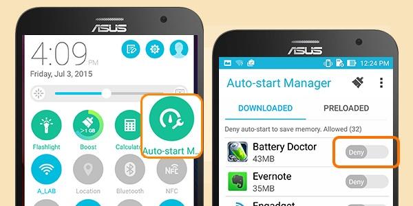 8 bi quyet tang thoi luong pin ZenFone 2 hinh anh 3 Đóng các ứng dụng nền: Những ứng dụng chạy ngầm bên dưới khiến smartphone tụt pin nhanh chóng. Chỉ với một nút bấm Auto-Start Manager, bạn sẽ dễ dàng xóa toàn bộ những ứng dụng chạy nền gây hao pin thiết bị.