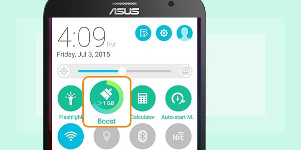 8 bi quyet tang thoi luong pin ZenFone 2 hinh anh 5 Nhấn Boost ở phần Quick Settings: Ngoài tiết kiệm pin, nút bấm vạn năng Boost còn giải phóng bộ nhớ, tăng tốc thiết bị và nâng cao hiệu năng xử lý. Bạn có thể dễ dàng tìm ra nút bấm vạn năng này ở phần Quick Setting.