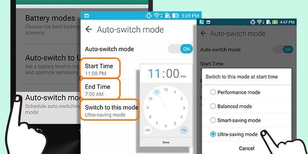 8 bi quyet tang thoi luong pin ZenFone 2 hinh anh 8 Thiết lập chế độ Auto-switch - chế độ thông minh cho phép bạn hẹn giờ để chuyển đổi các chế độ sử dụng pin khác nhau. Người dùng truy cập Settings, vào Power Saver và chọn Auto-switch mode để kích hoạt, sau đó chọn Ultra-Saving Mode để đạt hiệu quả tiết kiệm tối đa.