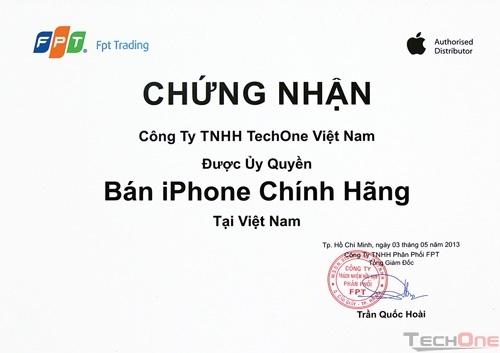 TechOne được chứng nhận là điểm bán iPhone chính hãng tại Việt Nam từ 2013