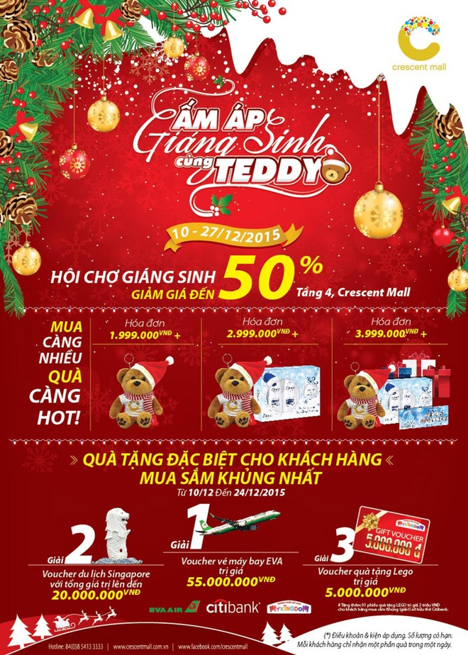 Don giang sinh am ap cung gau Teddy tai Crescent Mall hinh anh 3