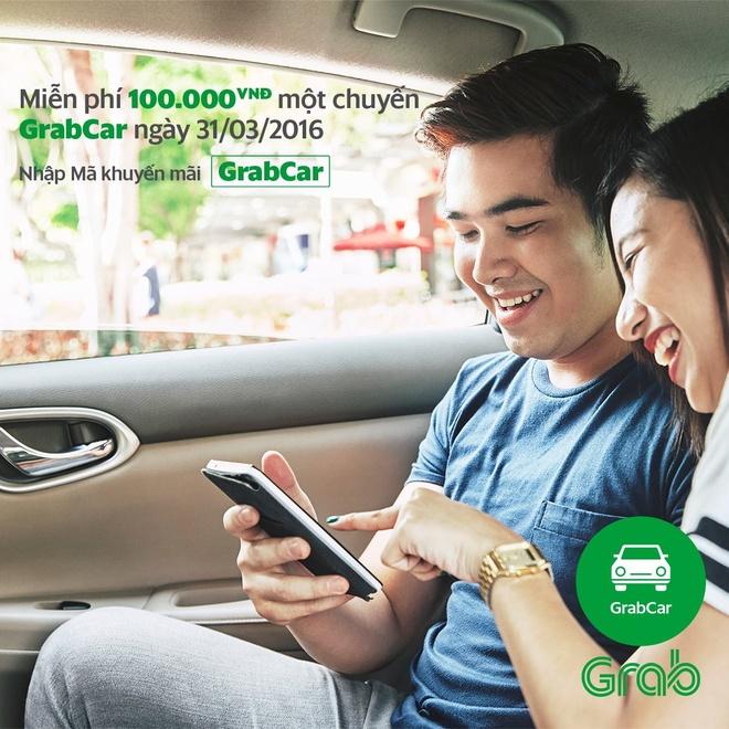 GrabCar mien phi 100.000 dong mot chuyen trong ngay 31/3 hinh anh 1