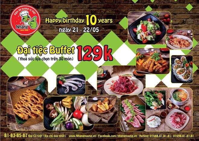 Tiec buffet 129.000 dong mung quan Nhang Nuong 10 tuoi hinh anh 5