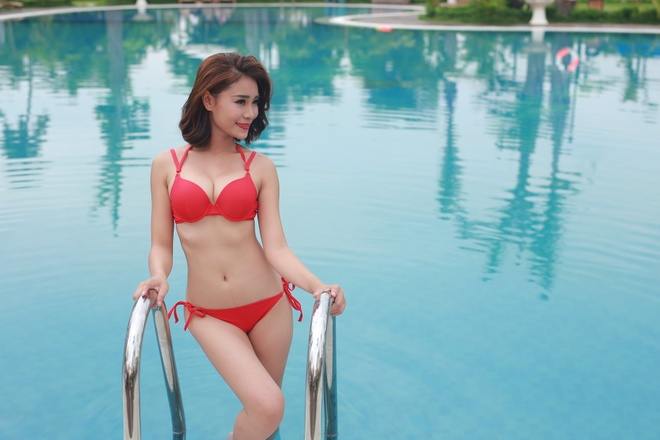 Thi sinh HH Ban sac Viet toan cau trinh dien bikini hinh anh 10