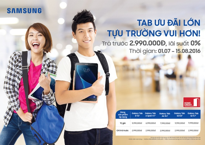 Samsung uu dai tra gop 0% san pham Galaxy Tab A6 10,1 inch hinh anh 1