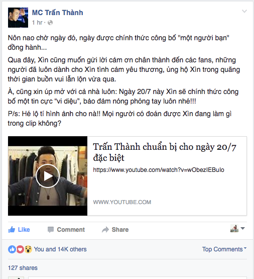 Fan phong doan Tran Thanh sap cong bo ngay trong dai hinh anh 1