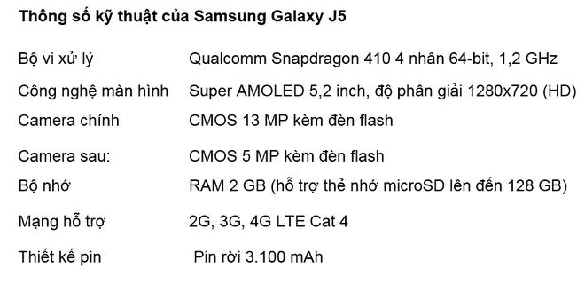 Samsung Galaxy J5 vang hong: Smartphone ca tinh cho phai dep hinh anh 3