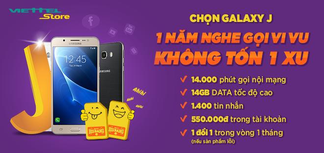 Chon Samsung Galaxy J, huong mot nam nghe goi mien phi hinh anh 1