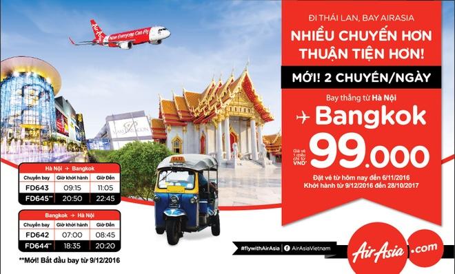 AirAsia tang tan suat bay 2 chuyen/ngay tu Ha Noi di Bangkok hinh anh 2