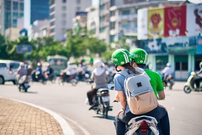 Riding a Grab in Vietnam