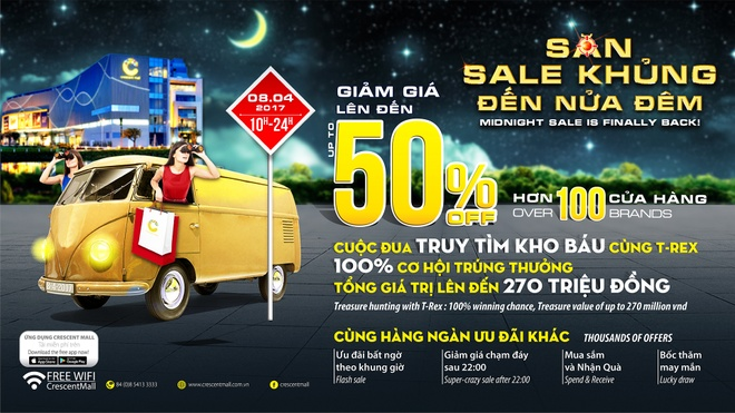 100 thuong hieu tham gia 'Sale khung den nua dem' tai Crescent Mall hinh anh 1