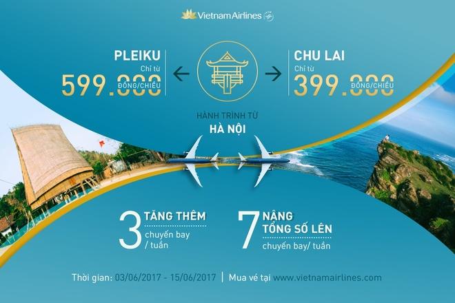 Vietnam Airlines ban ve re duong bay Ha Noi - Chu Lai, Ha Noi - Pleiku hinh anh 1