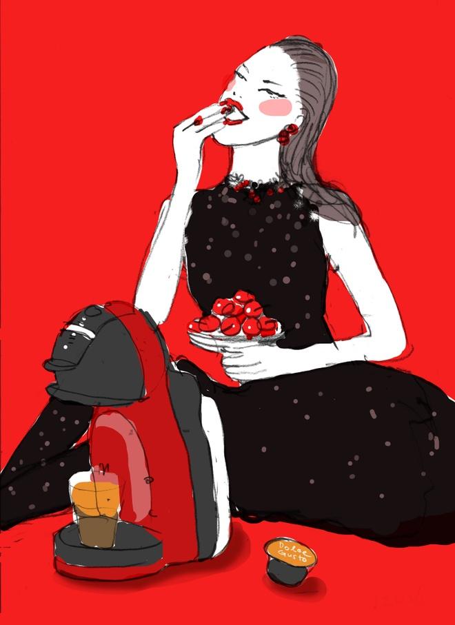 Dzung Yoko va 'nang tho' trong sac do cherry hinh anh 5