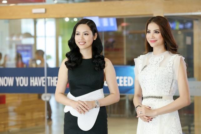 Pham Huong, Hoang My chia se bi quyet noi tieng Anh cho top 45 HHHV hinh anh
