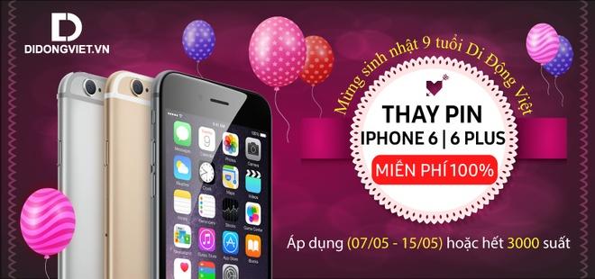 Thay 3.000 vien pin iPhone 6/6 Plus mien phi 100% tai Di Dong Viet hinh anh 1
