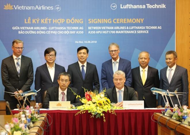VNA bat tay Lufthansa Technik trong bao duong dong co phu Airbus A350 hinh anh