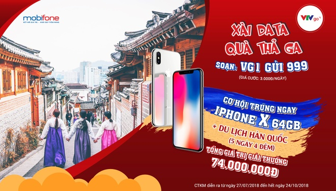 Co hoi nhan iPhone X, du lich xu Han khi dung VTVGo data cua Mobifone hinh anh 1