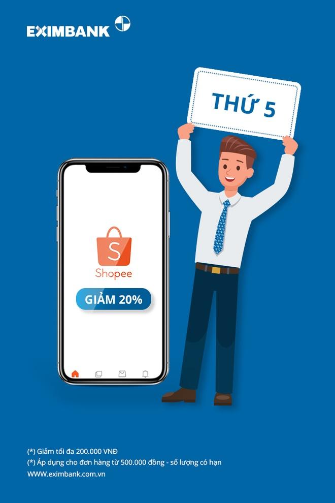Eximbank uu dai 20% khi mua sam bang the quoc te tai Shopee hinh anh 1
