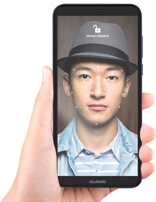Tính năng nhận diện gương mặt và mở khóa vân tay được trang bị trên Huawei Y6 Prime.