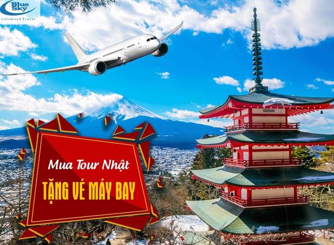 Hang lu hanh Blue Sky tang ve khu hoi cho khach mua tour Nhat Ban hinh anh 1
