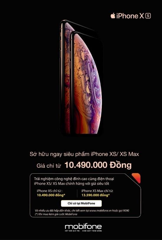 Mua iPhone XS gia tu 10,49 trieu dong voi combo cua MobiFone hinh anh