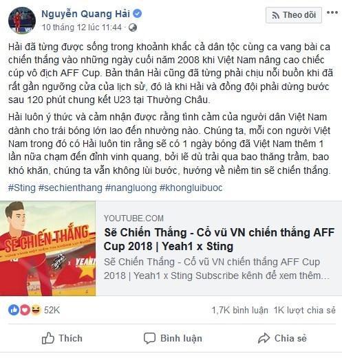 Quang Hai - Hong Duy khoi day niem tin chien thang bang MV day cam xuc hinh anh 1