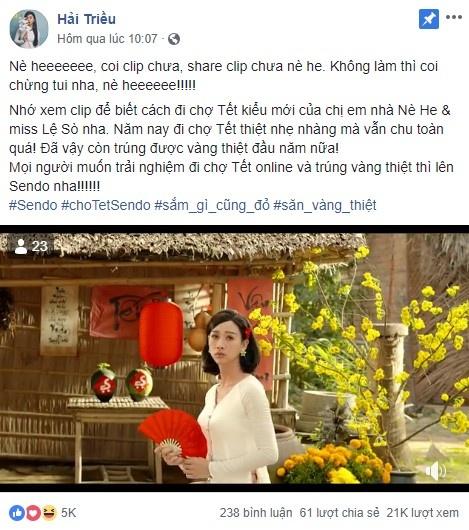 BB Tran va Hai Trieu hoa cap chi em lay loi trong clip hai Tet 'An khe tra vang' hinh anh 4