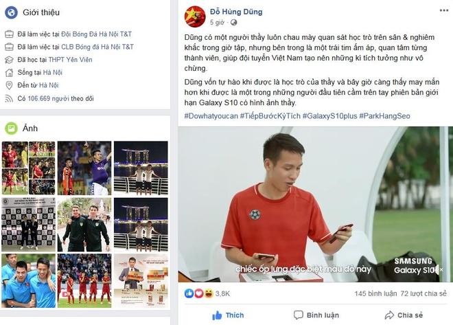 Tien ve Hung Dung hao hung 'dap hop' Galaxy S10+ Park Hang-seo hinh anh 1
