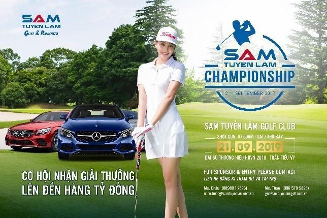 Cung Hoa hau Tieu Vy du giai golf Sam Tuyen Lam Championship 2019 hinh anh 1