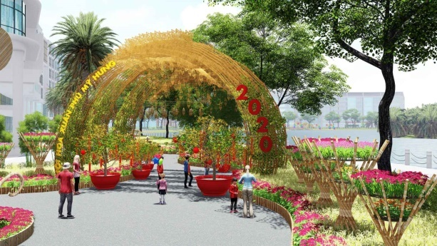 Trong khuôn viên 7 ha, hội hoa xuân Phú Mỹ Hưng Tết Canh Tý được trang hoàng với bản sắc riêng.