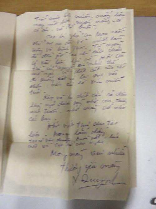 Xuan Quynh: Chuyen doi, chuyen yeu hinh anh 3 Những dòng cuối lá thư Xuân Quỳnh gửi Phan Thị Thanh Nhàn trong chuyến đi Quảng Bình- viết ngày 23/10/1969.
