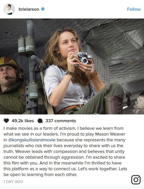 Brie Larson tu hao vi vai nha bao trong 'Kong: Skull Island' hinh anh 1