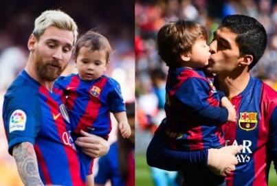 Messi om hon con trai Suarez trong xe hinh anh