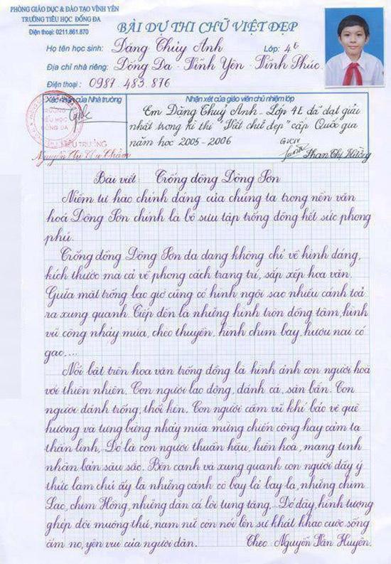 Nhung hoc sinh viet chu dep nhu in hinh anh 1 Đặng Thủy Anh nổi tiếng trên mạng với bài viết đạt giải chữ đẹp Quốc gia.