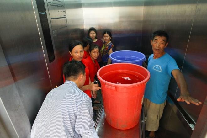 Chiều 1-10, người nhà và bệnh nhân tại Bệnh viện 19-8 (Hà Nội) vẫn phải khiêng nước từ hồ chứa lên các phòng bệnh để dùng.