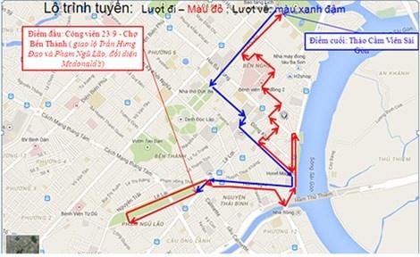 Mo xe buyt dien qua pho di bo Nguyen Hue hinh anh 1 Theo đề xuất, ban đầu sẽ có 11 xe buýt điện loại 12 chỗ chạy theo lộ trình trong sơ đồ. Ảnh do Sở GTVT cung cấp. (Màu đỏ là lượt đi, màu đen là lượt về).