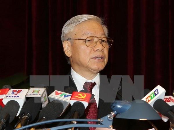 Toan van phat bieu khai mac Hoi nghi TU 13 cua Tong bi thu hinh anh 1 Tổng Bí thư Nguyễn Phú Trọng phát biểu khai mạc Hội nghị.