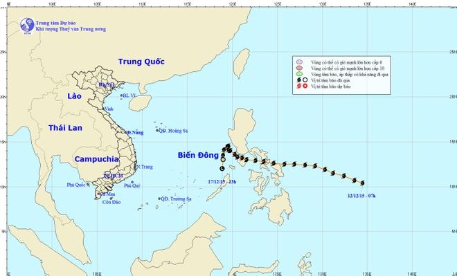 Bao Melor tan tren Bien Dong hinh anh 1 Cơ quan khí tượng cho hay, bão đã suy yếu thành vùng áp thấp. Ảnh: NCHMF.