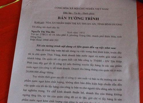 Doi Tan Hiep Phat boi thuong vi pha san, suyt vao tu hinh anh 3 Bản tường trình sự việc của bà Hà.