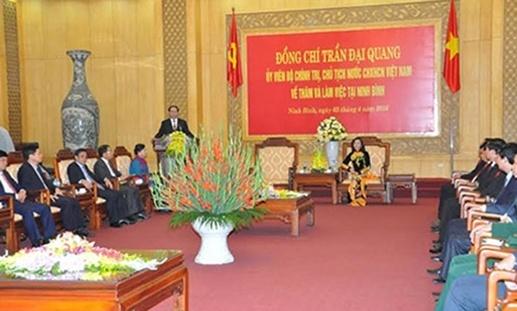 Chu tich nuoc Tran Dai Quang lam viec tai Ninh Binh hinh anh 1