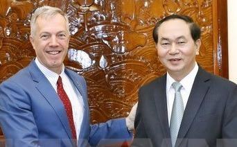 Chu tich nuoc Tran Dai Quang tiep Dai su Hoa Ky Ted Osius hinh anh