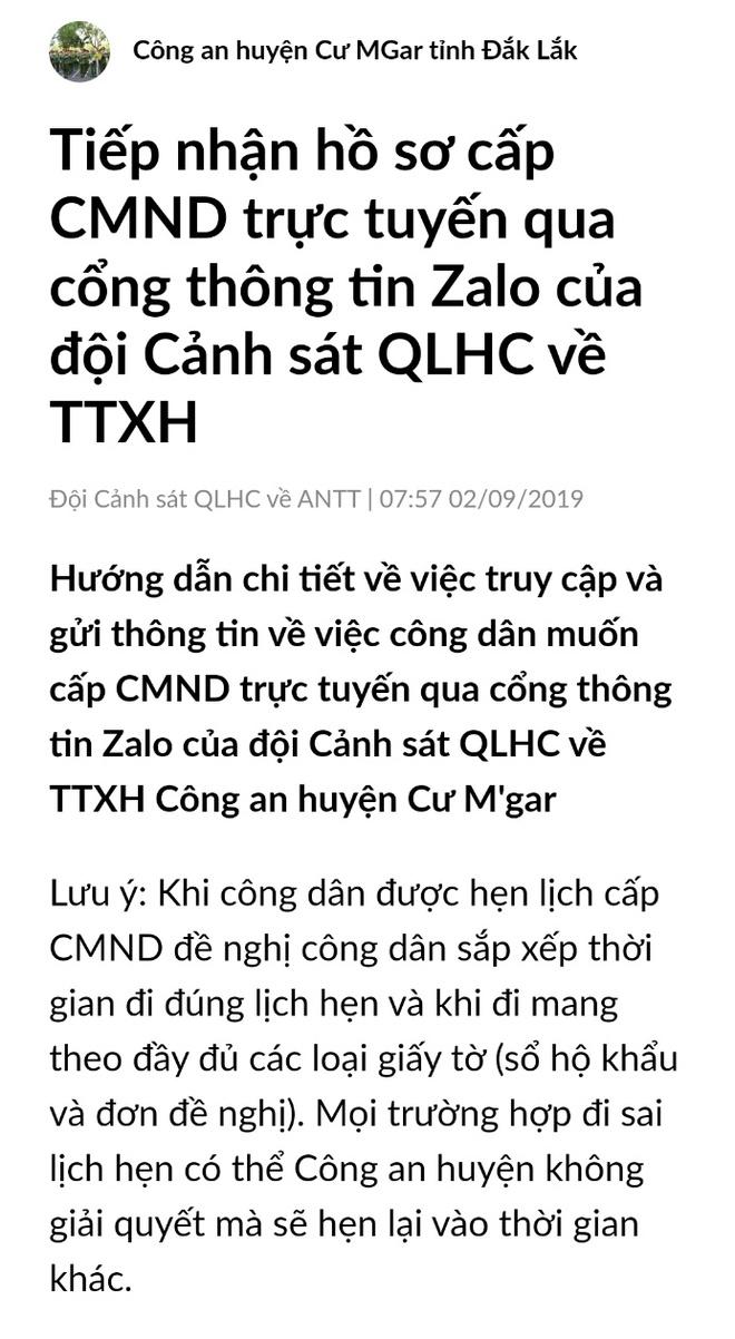 Lam thu tuc cap CMND qua Zalo trong 15 phut hinh anh 2 za5.jpg