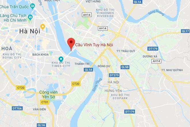 Tai xe xe may tu nan tren cau Vinh Tuy, giao thong un tac hinh anh 3 Map_longbien_nc.jpg