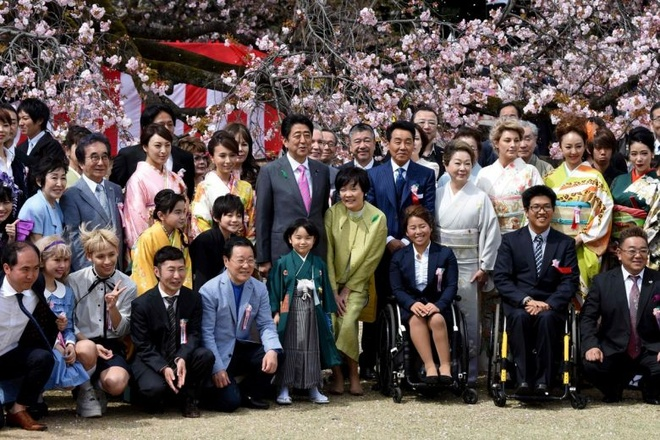 Thu tuong Shinzo Abe lao dao vi scandal tiec ngam hoa anh dao hinh anh 1 ja.jpg